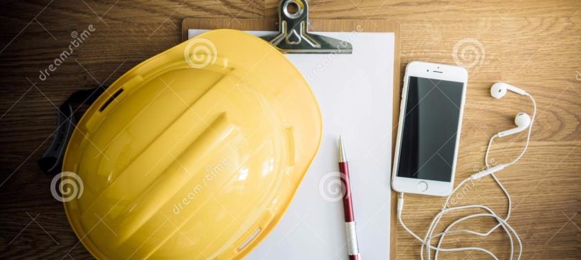 safety-helmet-clipboard-notebook-pen-wooden-table-top-view-construction-concepts-57119973